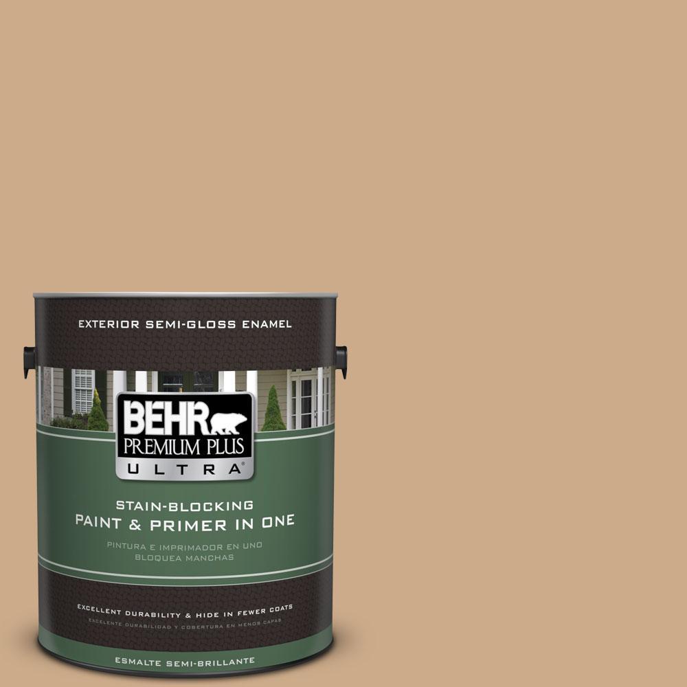 BEHR Premium Plus Ultra 1-gal. #N280-4 Perfect Tan Semi-Gloss Enamel Exterior Paint
