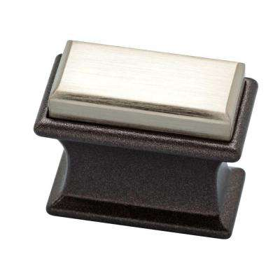 Luxe Square 1-2/5 in. (36mm) Dual Tone Cocoa Bronze and Satin Nickel Cabinet Knob