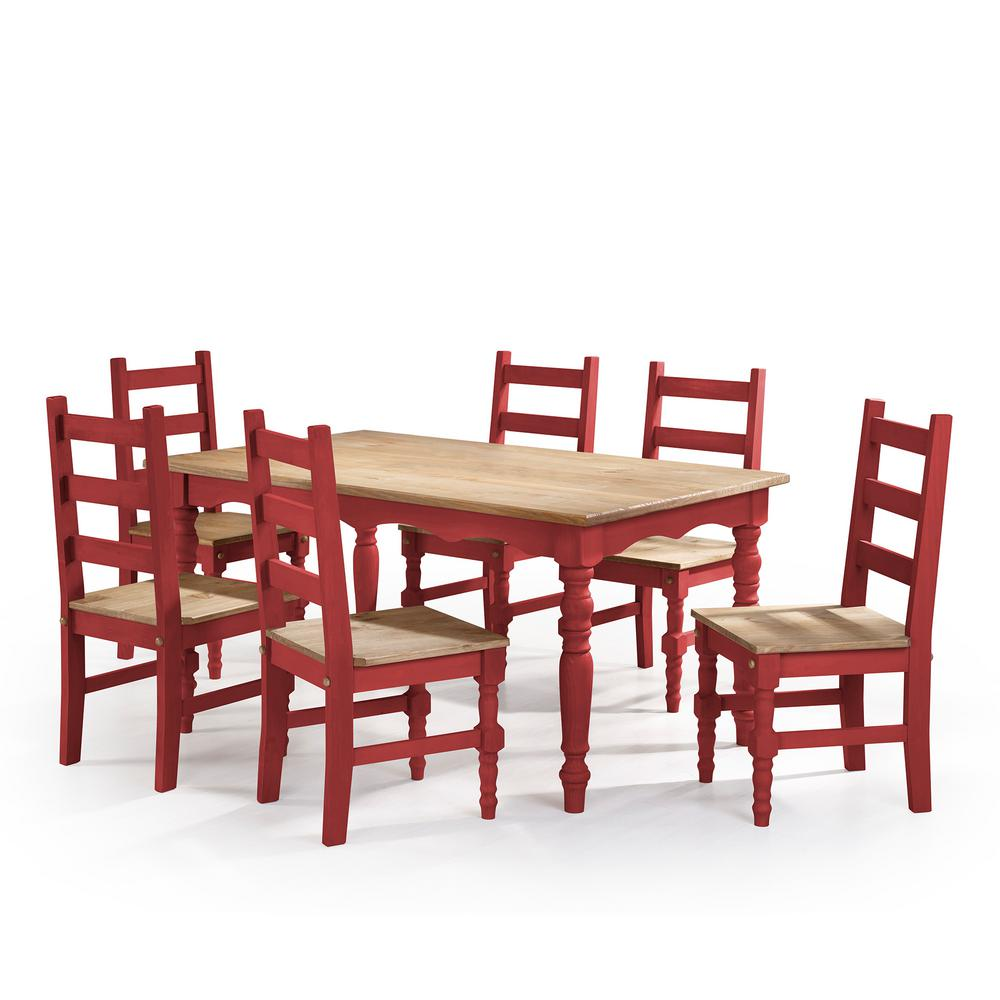 Manhattan Comfort Jay 7 Piece Red Wash Solid Wood Dining Set With 6 Chairs