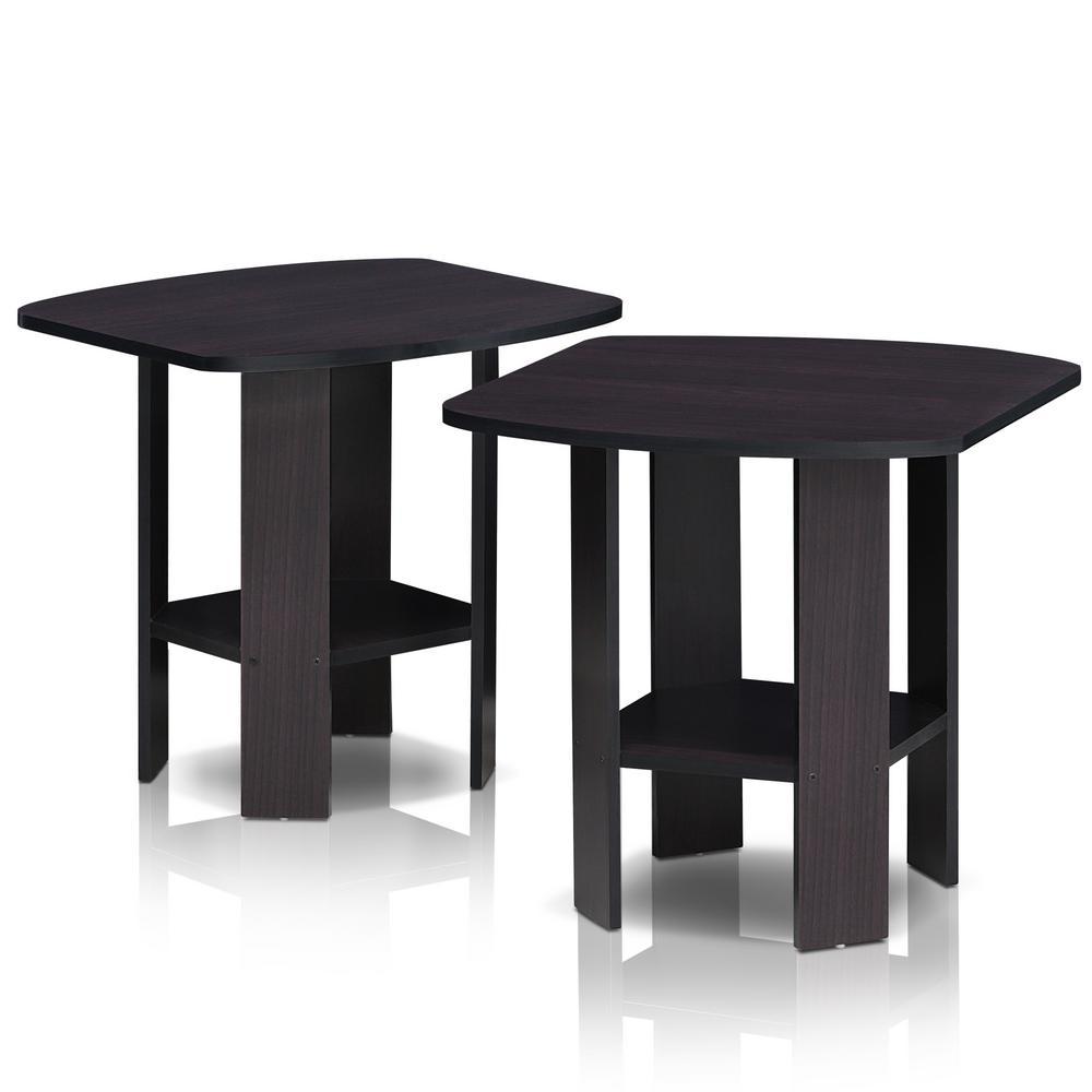 Simple Design Dark Walnut End Table (2-Set)