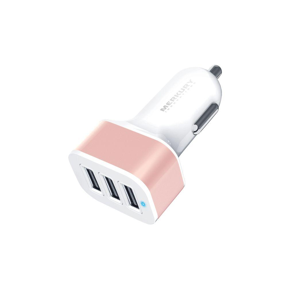 3-Port 3.4 Amp USB Car Charger, White/Rose Gold