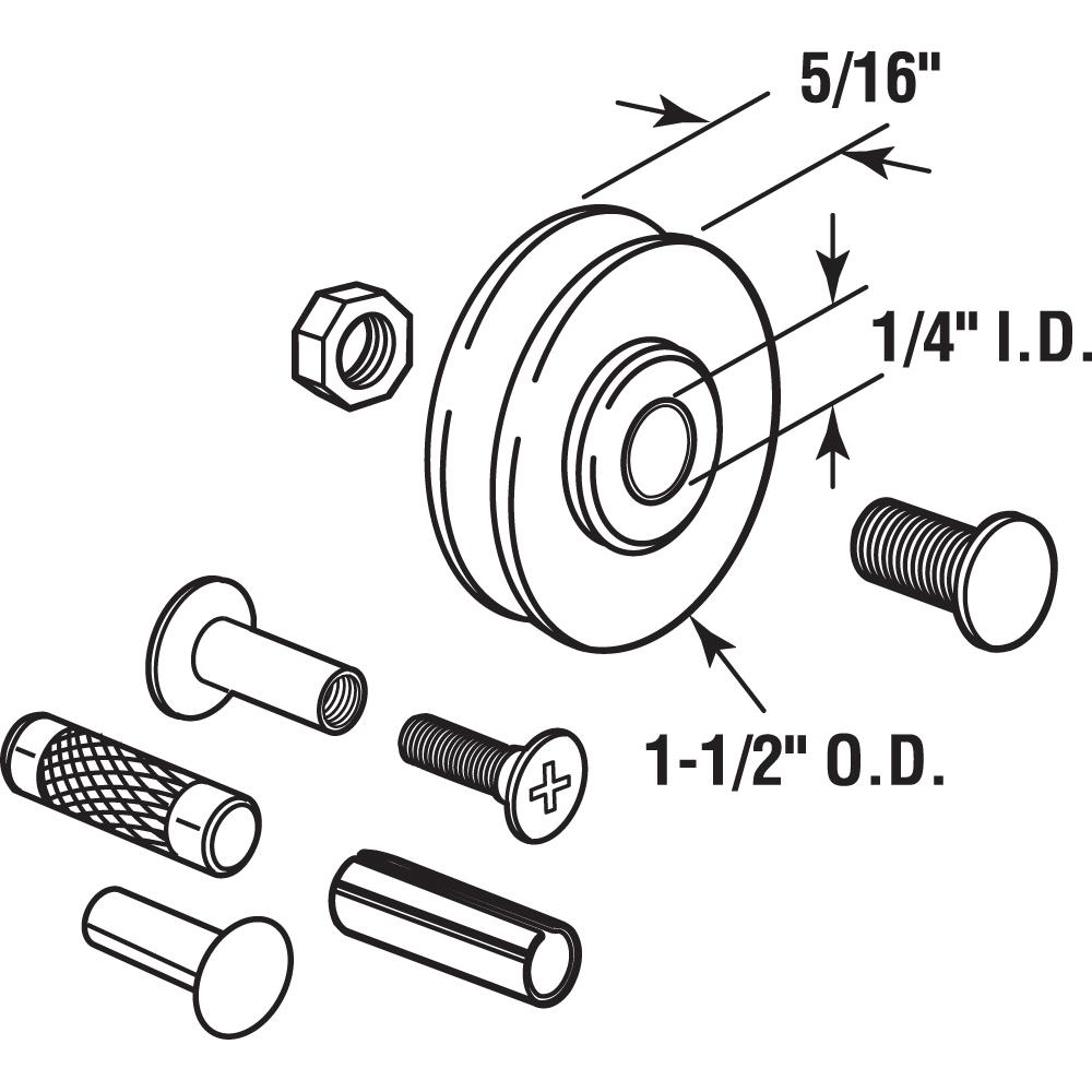 Prime-Line Products D 1798 Sliding Door Roller Set with 1-1//4-Inch Nylon Ball