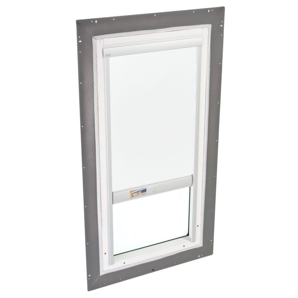 VELUX 22-1/2 in. x 22-1/2 in. Fixed Pan-Flashed Skylight Tempered LowE3 Glass and White Solar-Powered Light Filtering Blind