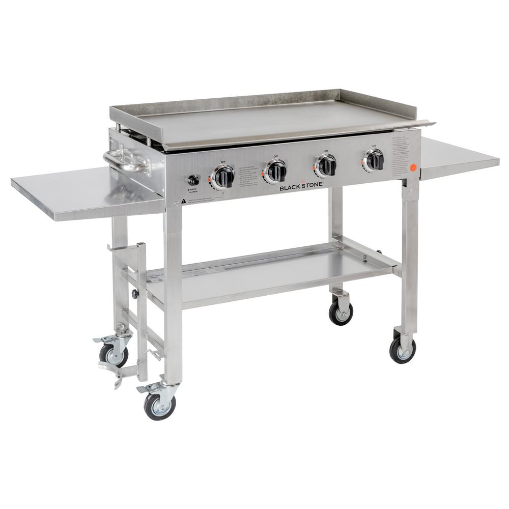 4 Burner Propane Gas Grill In Stainless Steel With Griddle Top