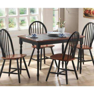 5-Piece Black and Cherry Dining Set