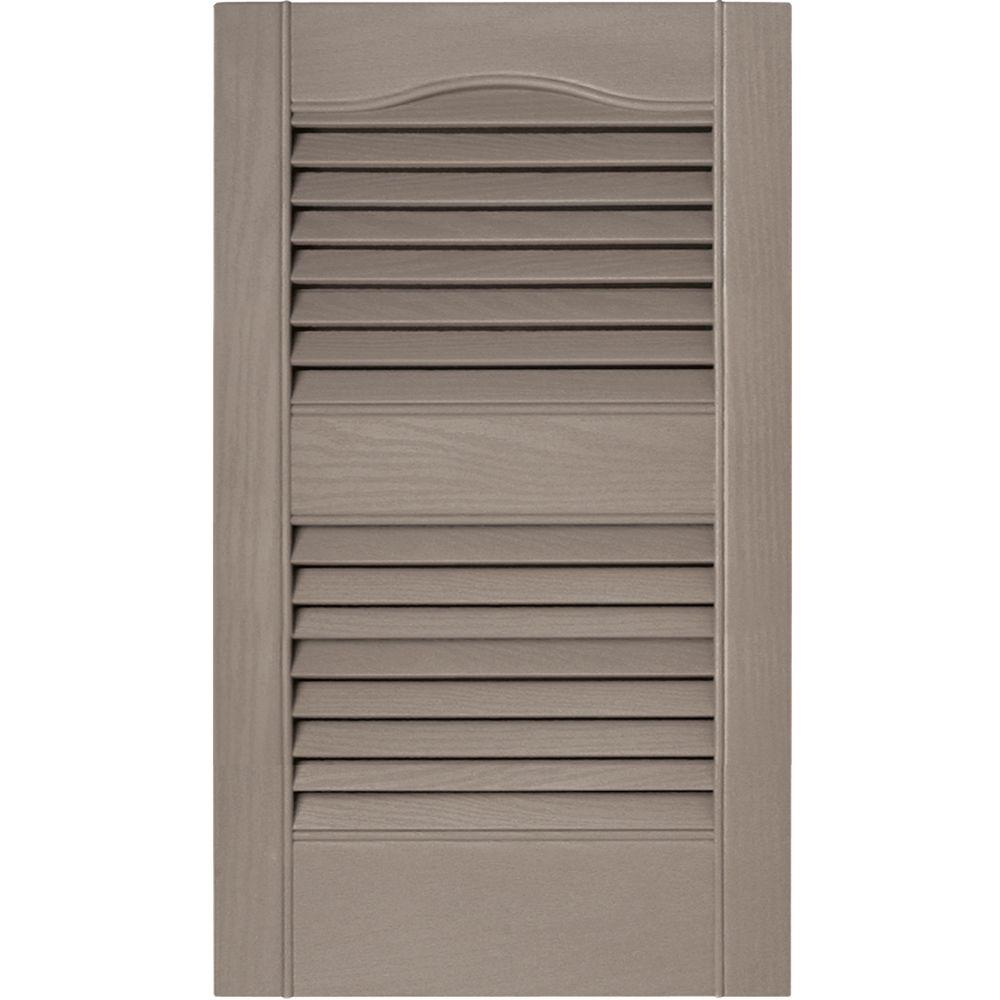 Builders Edge 15 in. x 25 in. Louvered Vinyl Exterior Shutters Pair in #008 Clay