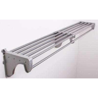 12 in. D x 10.5 in. H x 74 in. W Steel Expandable Closet Rod and Shelf in Silver