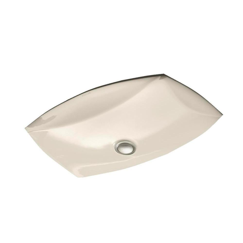 KOHLER Kelston Vitreous China Undermount Bathroom Sink with Overflow Drain in Almond with Overflow Drain