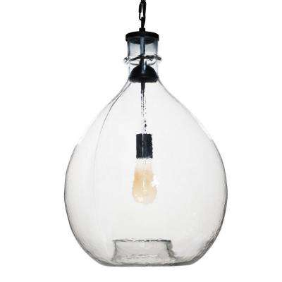 26 in. H and 16 in. W 1-Light Black Wavy Hammered Hand Blown Glass Pendant with Clear Glass Shade