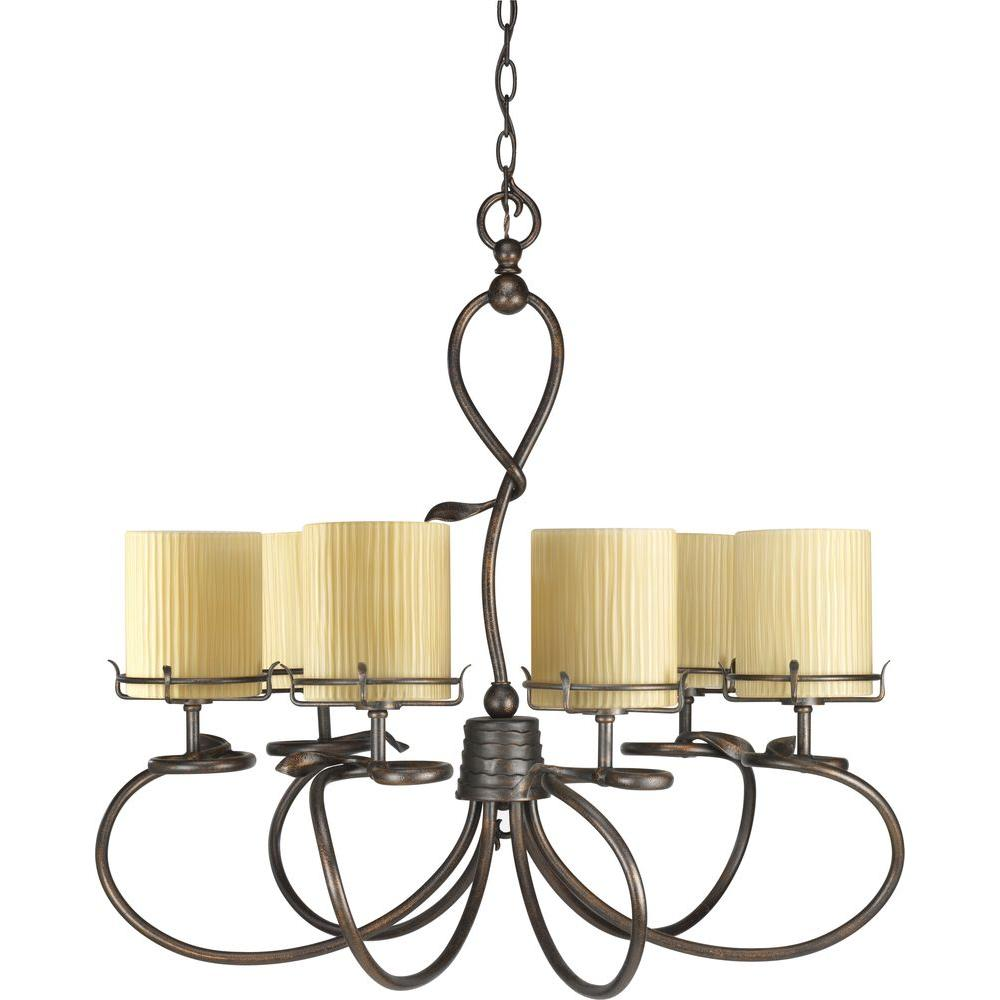 Progress Lighting Willow Creek Collection Weathered Auburn 6-light Chandelier-DISCONTINUED