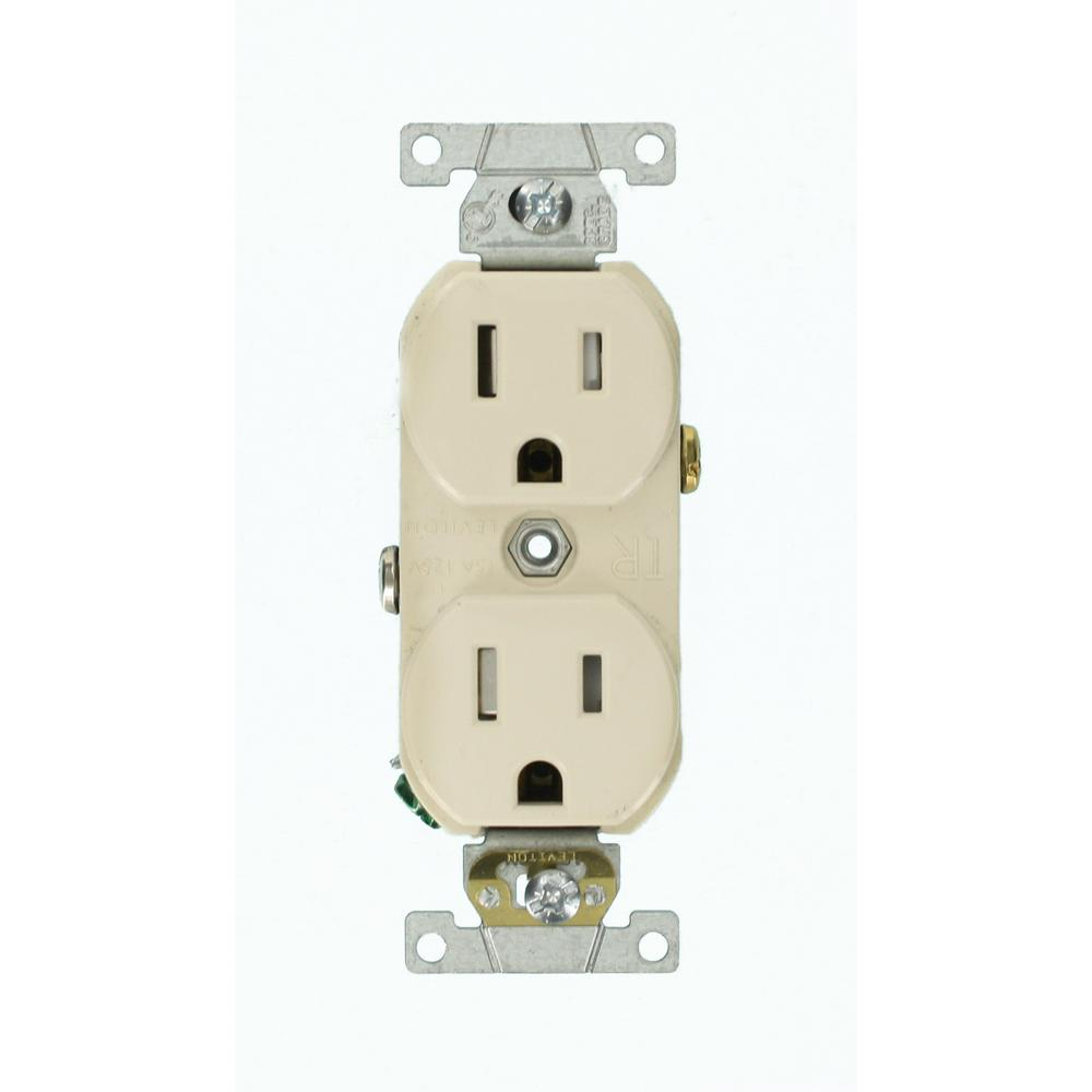 Leviton 15 Amp Commercial Grade Tamper Resistant Side Wired Self Grounding  Duplex Outlet, Light Almond
