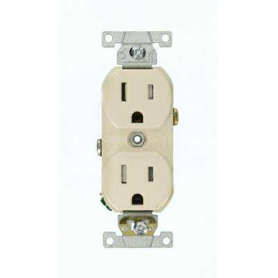 15 Amp Commercial Grade Tamper Resistant Side Wired Self Grounding Duplex Outlet, Light Almond