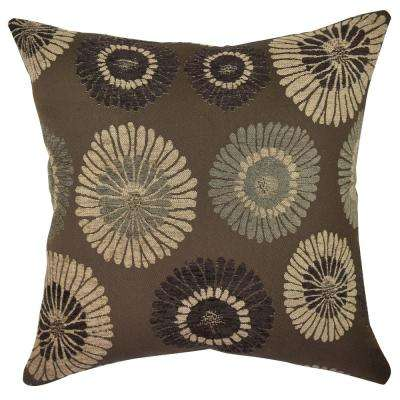 Earth Tone Blooms Throw Pillow