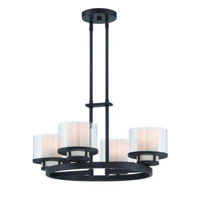 Fusion 4-Light Biscayne Bronze Interior Incandescent Chandelier