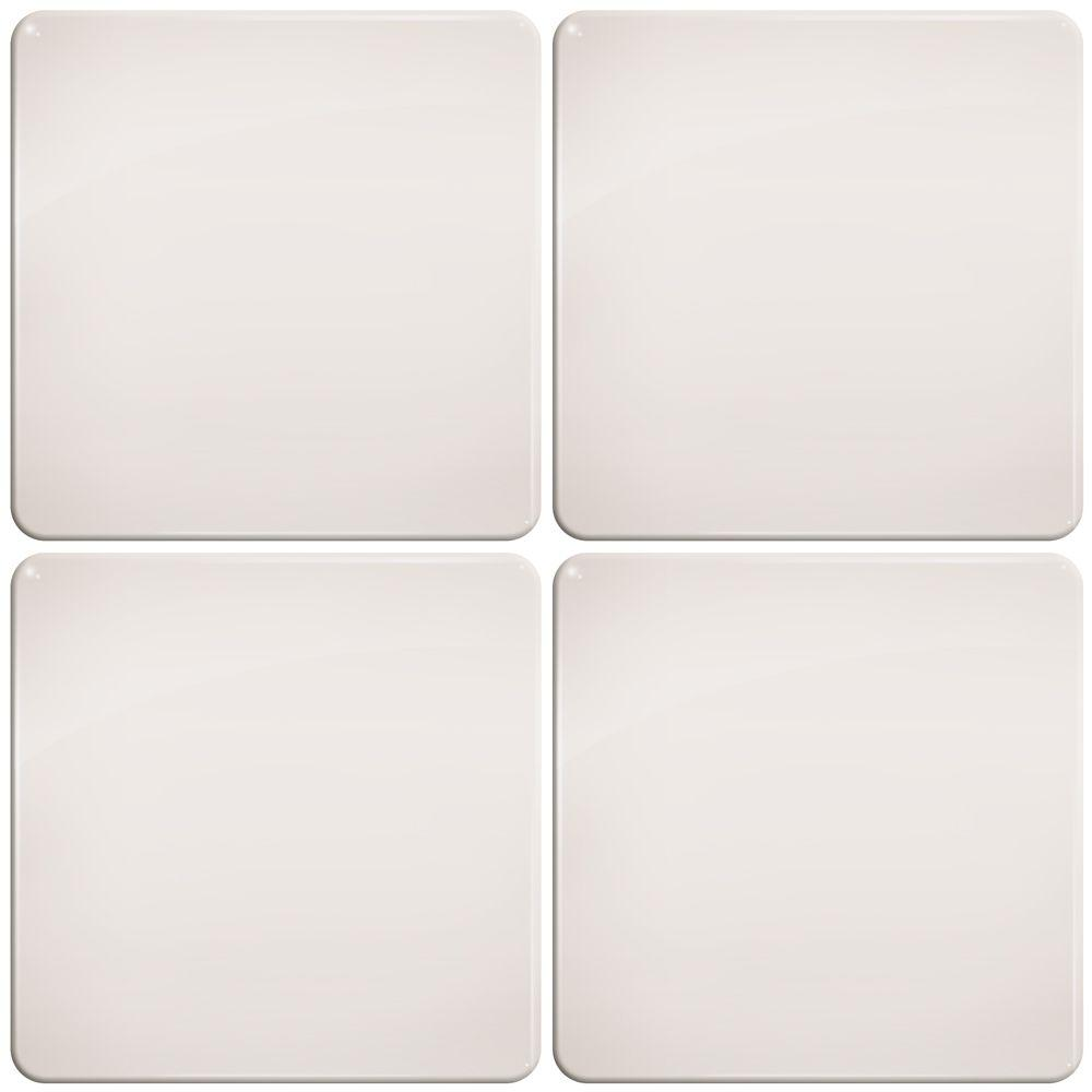 Smart Tiles 3-11/16 in. x 3-11/16 in. Ivory with Round Corners Gel Tile Decorative Wall Tile (4-Pack)-DISCONTINUED