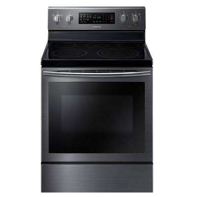 30 in. 5.9 cu. ft. Electric Range with Self-Cleaning Convection Oven in Black Stainless