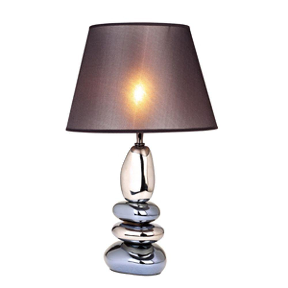 21.5 in. Stacked Chrome and Metallic Blue Stones Ceramic Table Lamp