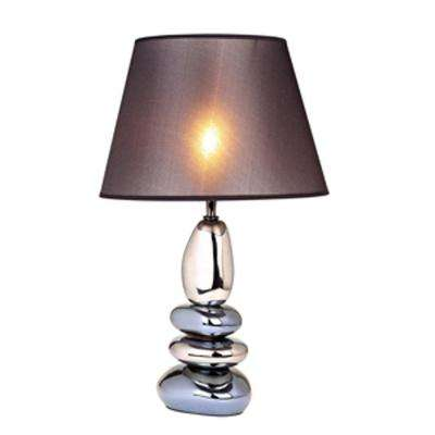 21.5 in. Stacked Chrome and Metallic Blue Stones Ceramic Table Lamp with Black Shade