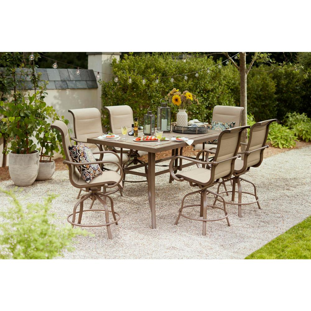 Home Decorators Collection Sun Valley 7-Piece Aluminum Outdoor Patio Bar Height Dining Set with Sunbrella Sling