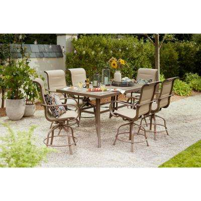 Sun Valley 7-Piece Aluminum Outdoor Bar Height Dining Set with Sunbrella Sling