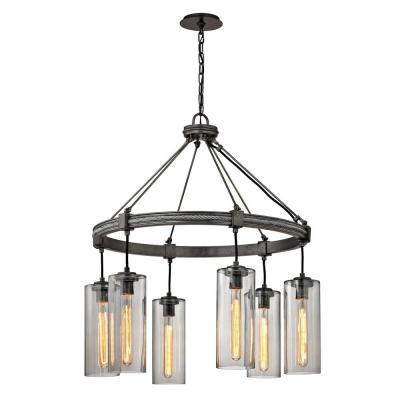 Union 6-Light Graphite Square Pendant with Smoke Glass Shade