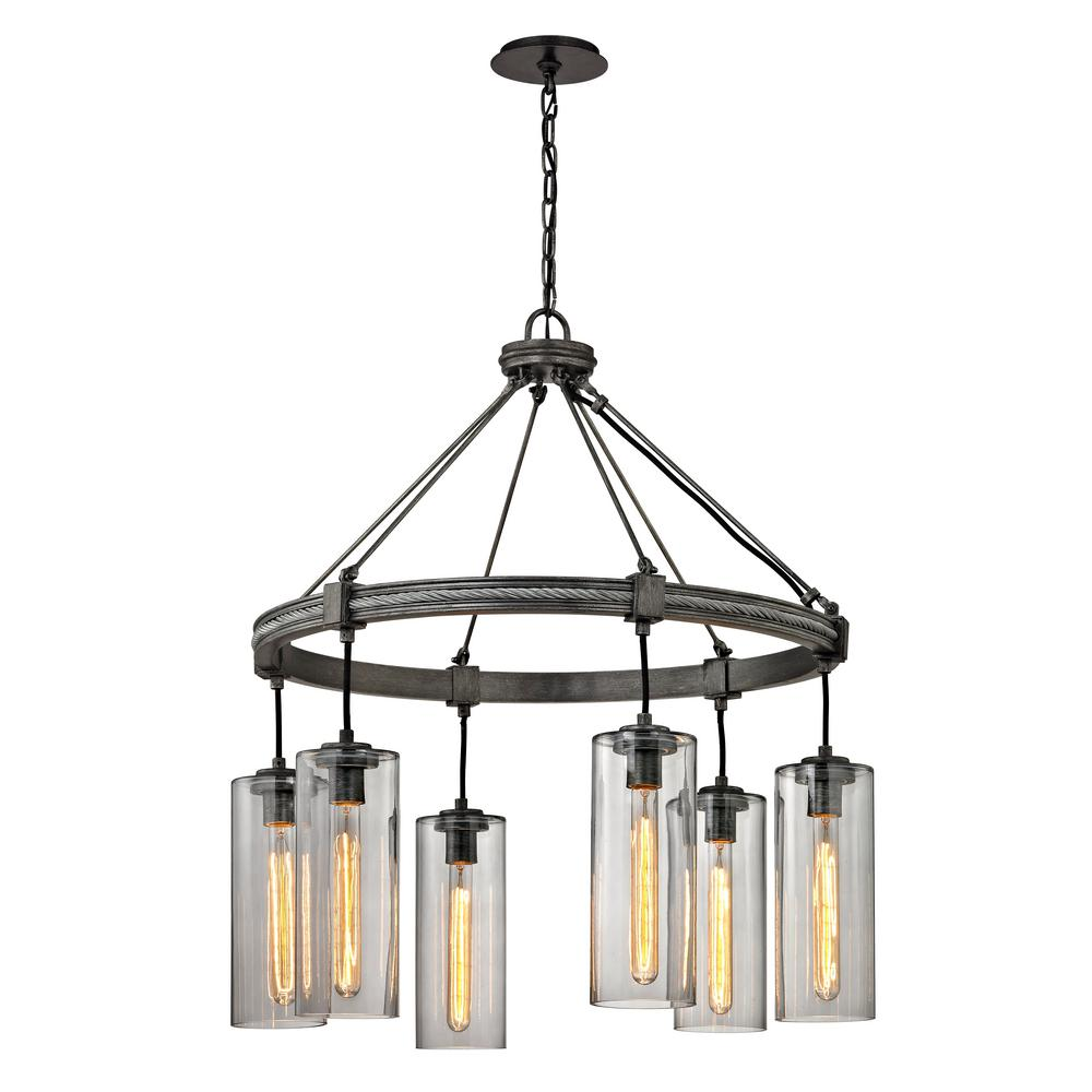 Troy Lighting Union 6 Light Graphite Square Pendant With Smoke Glass Shade