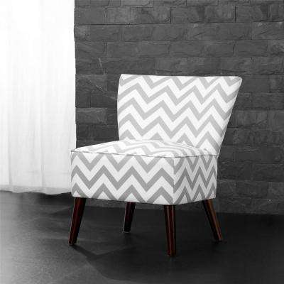Chevron Gray/White Accent Chair