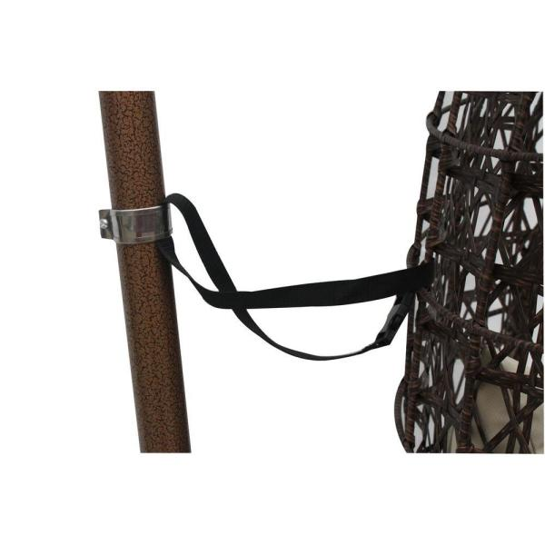 JLIP - Brown Rattan Patio Swing Chair with Stand and Beige Cushions