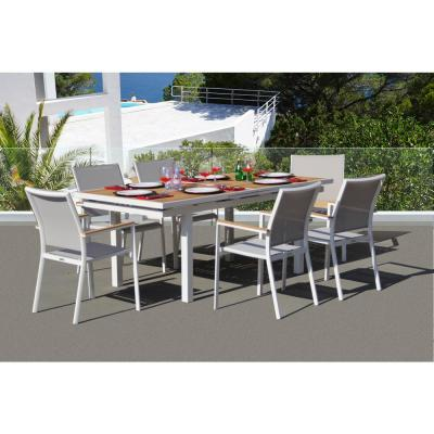 Essence White 7-Piece Aluminum Outdoor Dining Set with Sling Set in Mouse Grey