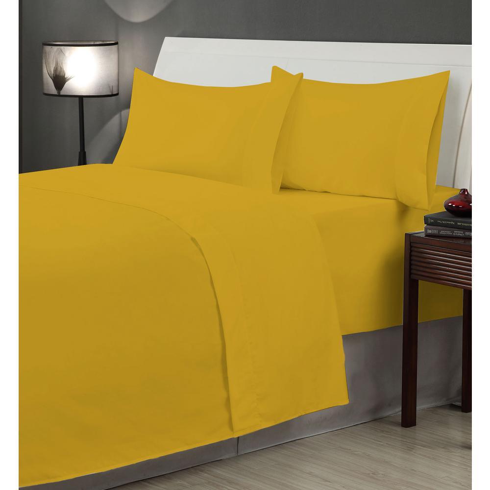 4-Piece Honey Mustard Microfiber Twin XL Sheet Set