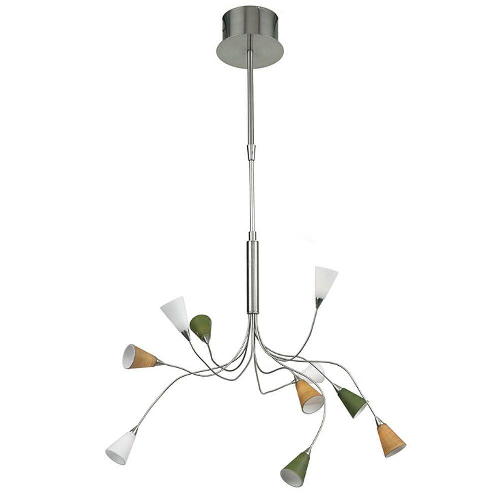 Eglo Nico 10-Light 10-Watt Hanging Matte Nickel Chandelier Light