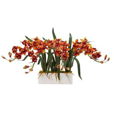 Indoor Cymbidium Artificial Arrangement in White Vase