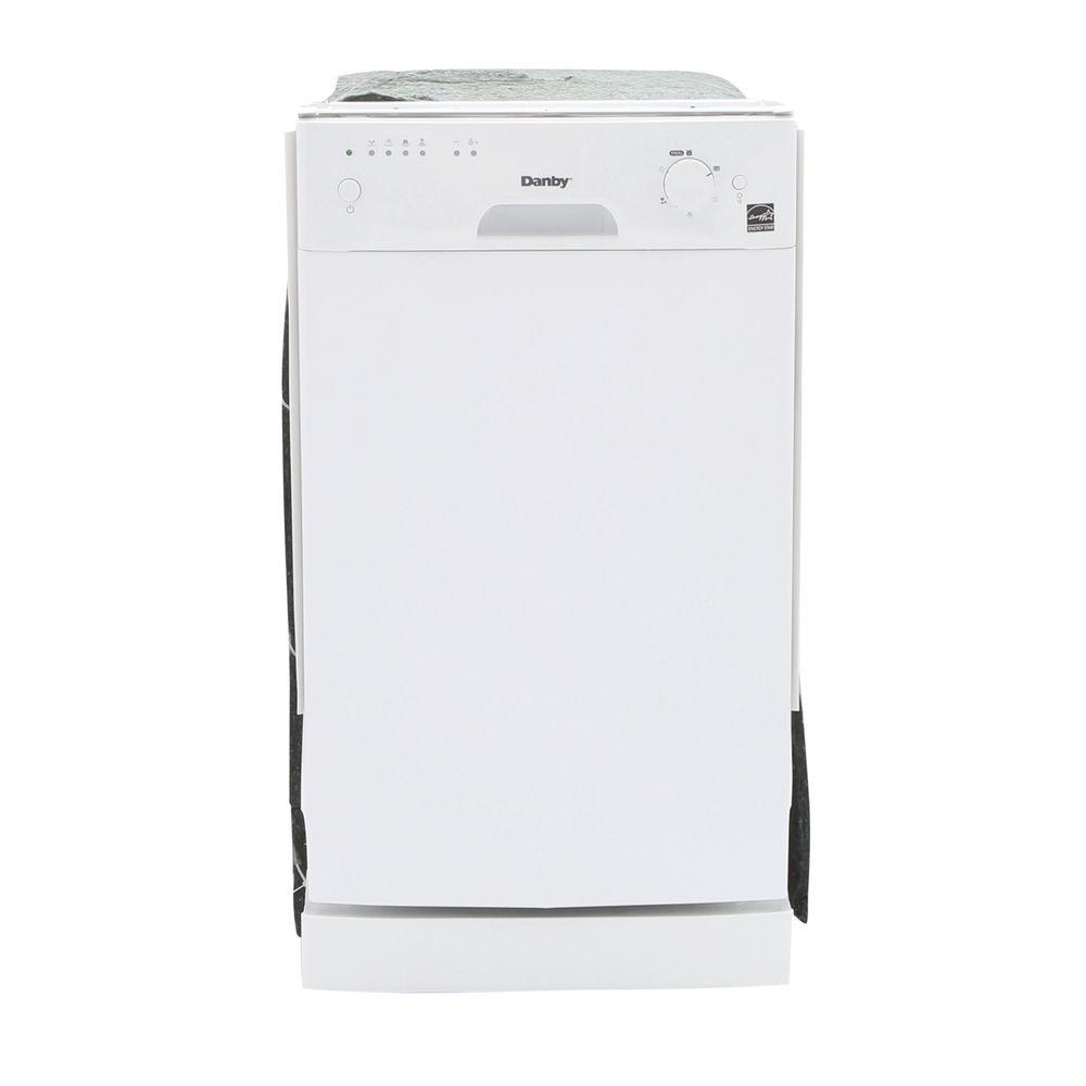 Danby 18 in. Front Control Dishwasher in White with Stainless Steel Tub