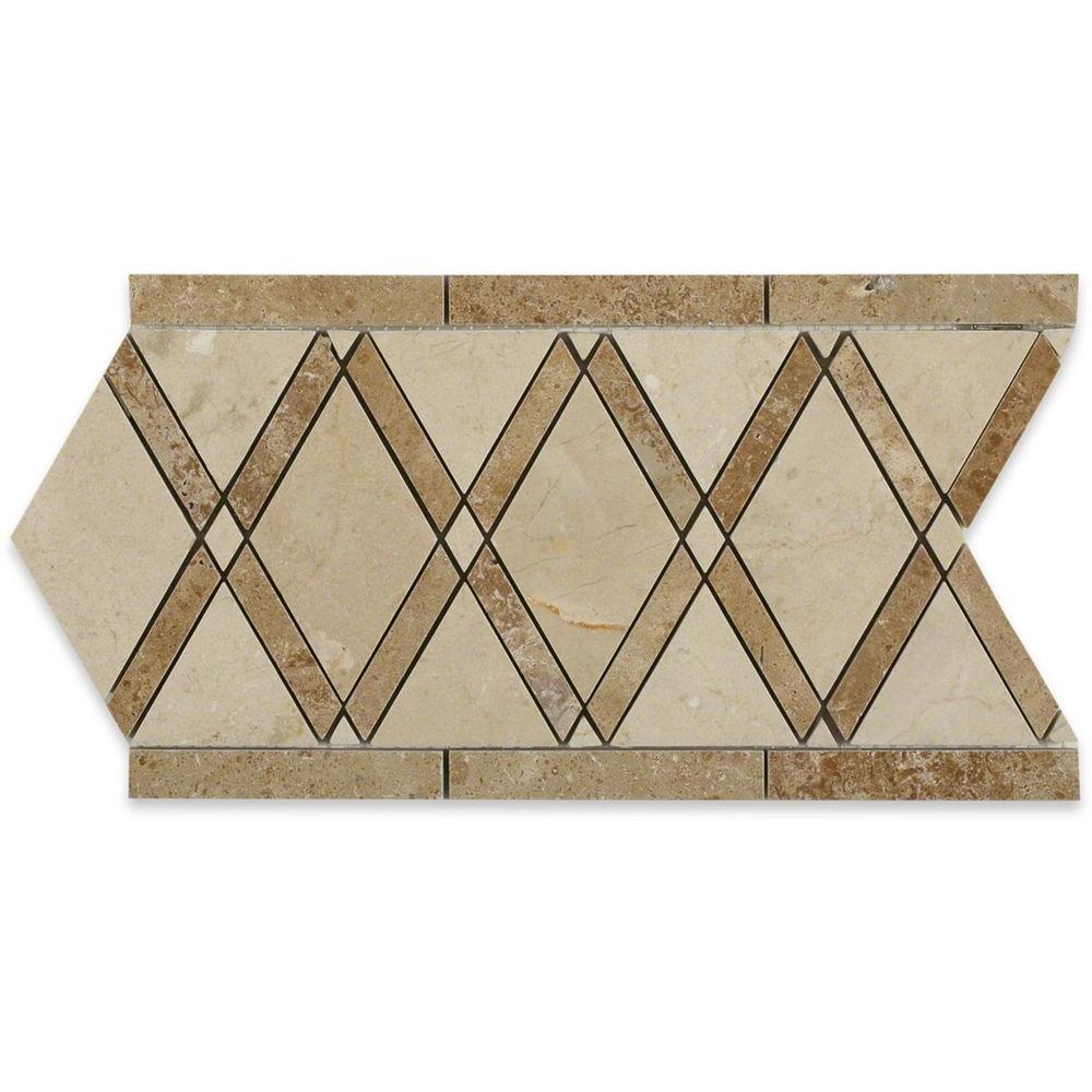 Splashback Tile Grand Crema Marfil Noce Border 6 inch x 12 inch x 10 mm Polished Marble... by Splashback Tile