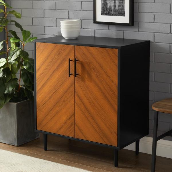 28 in. Solid Black Modern Bookmatch Accent Cabinet