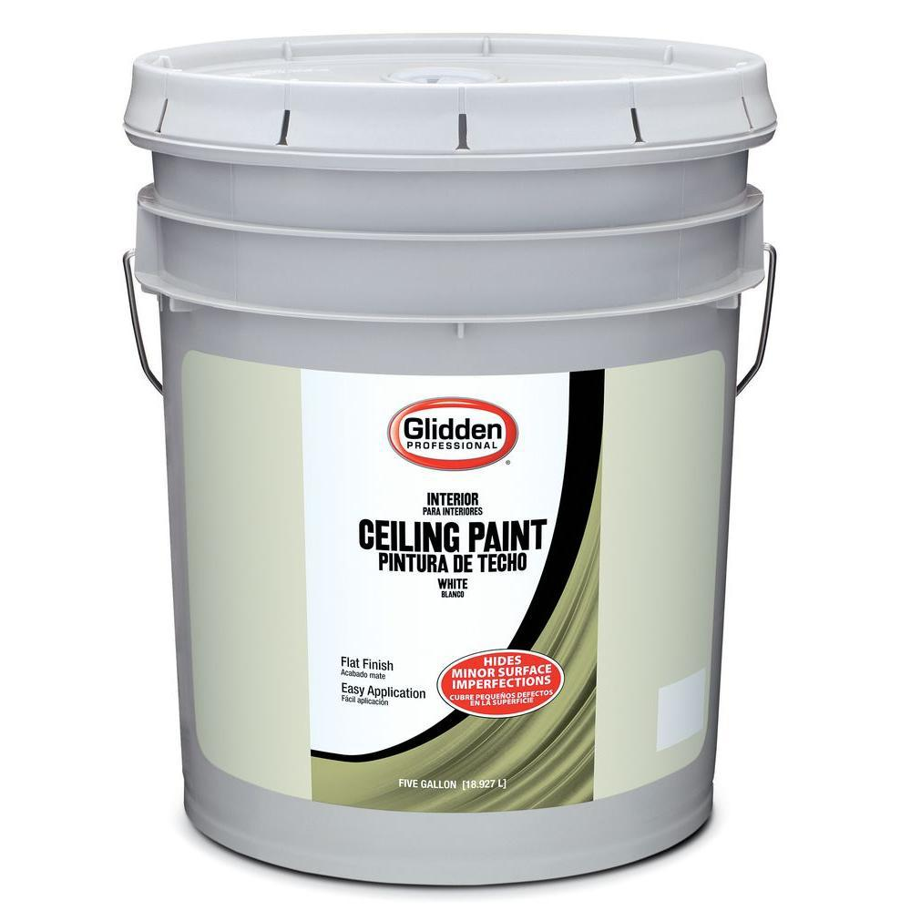 Glidden Ceiling 5 Gal White Flat Interior Ceiling Paint Gpl 0000 05 The Home Depot