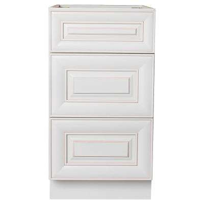 Plywell Well Ready to Assemble 18 in. W x 21 in. D x 34.5 in. H Vanity Cabinet with 3-Drawers in Antique White