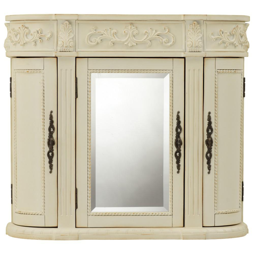 Home Decorators Collection Chelsea 31 1 2 In W Bathroom Storage Wall Cabinet With Mirror In Antique White