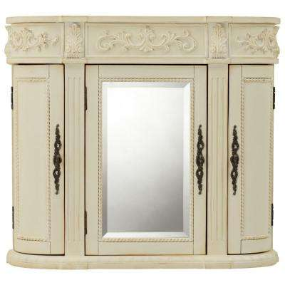 Chelsea 31-1/2 in. W Bathroom Storage Wall Cabinet with Mirror in Antique White