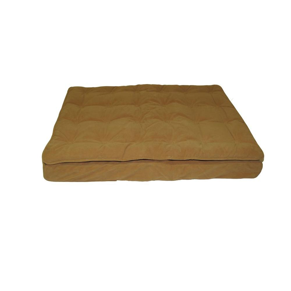 Carolina Pet Company Large Carmel Luxury Pillow Top Mattress Bed Treat your pet to well-deserved sleep. This pet bed is the perfect resting spot. The soft, plush cashmere microfiber top is comfortable and easily removed for wash day. Its 4 in. foam base holds the bed in place and allows it to retain its shape.