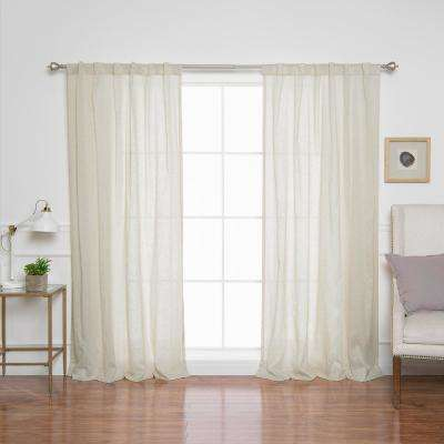 84 in. L. Sheer Faux Linen Rod Pocket Panel in Natural (2-Pack)