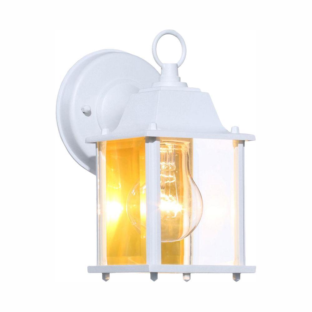 Hampton Bay 1 Light White Outdoor Wall Lantern Sconce Bpm1691 Wht The Home Depot