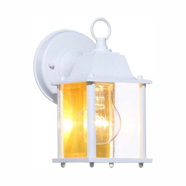 Hampton Bay 1 Light White Outdoor Wall Lantern Sconce Bpm1691 Wht The Home Depot