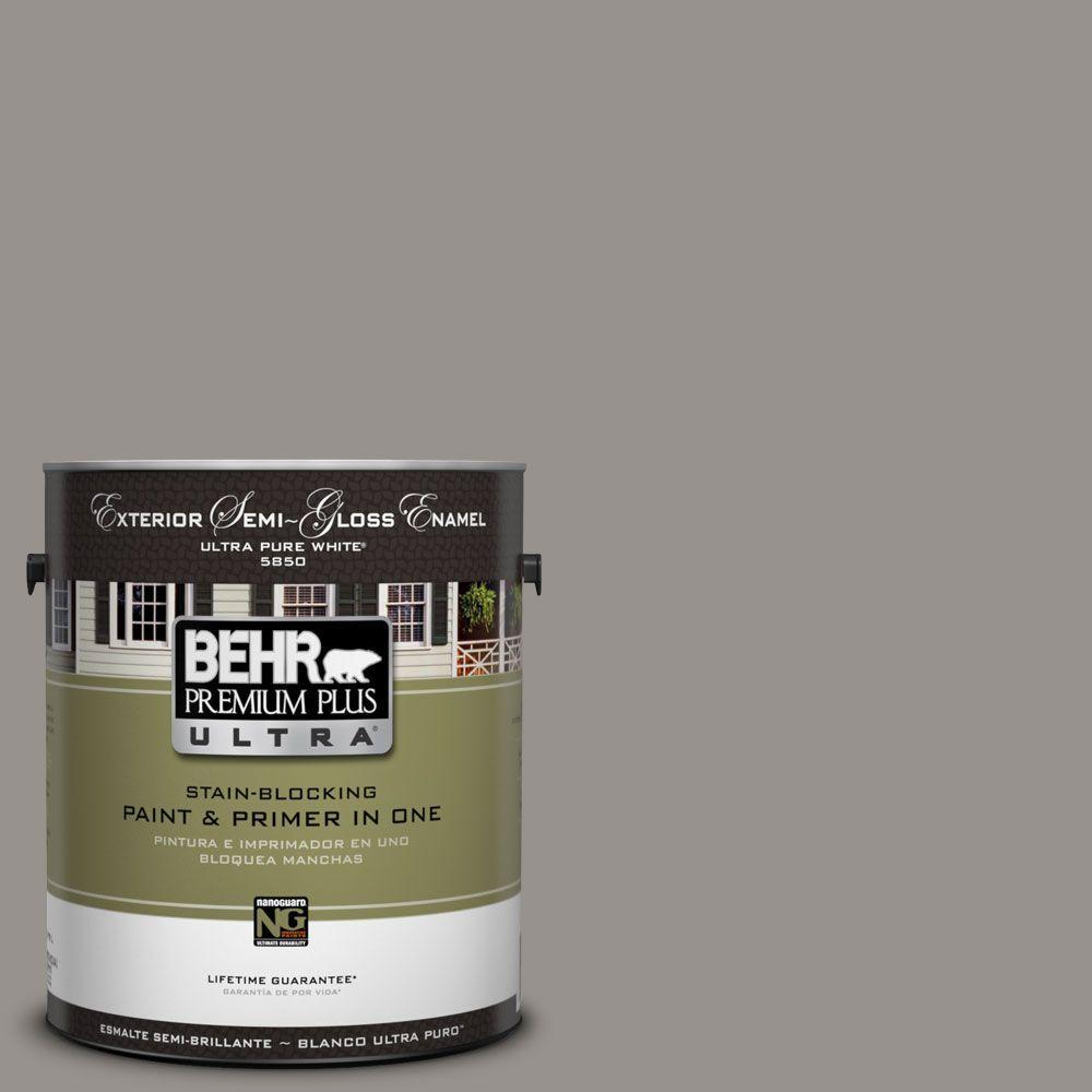 BEHR Premium Plus Ultra 1-Gal. #UL260-5 Elephant Skin Semi-Gloss Enamel Exterior Paint