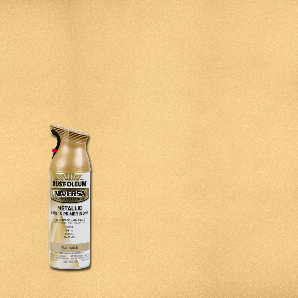 Rust Oleum Universal 11 Oz All Surface Metallic Pure Gold Spray Paint And Primer In 1 261399