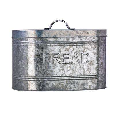Rustic Kitchen Metal Bread Storage Bin with Galvanized