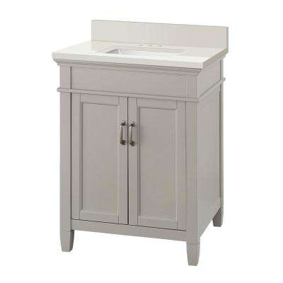 Ashburn 25 in. W x 22 in. D Vanity Cabinet in Grey with Engineered Marble Vanity Top in Winter White with White Sink