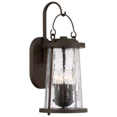 Haverford Grove Collection 4-Light Oil Rubbed Bronze Finish Outdoor Wall Mount Lantern with Clear Crackle Glass