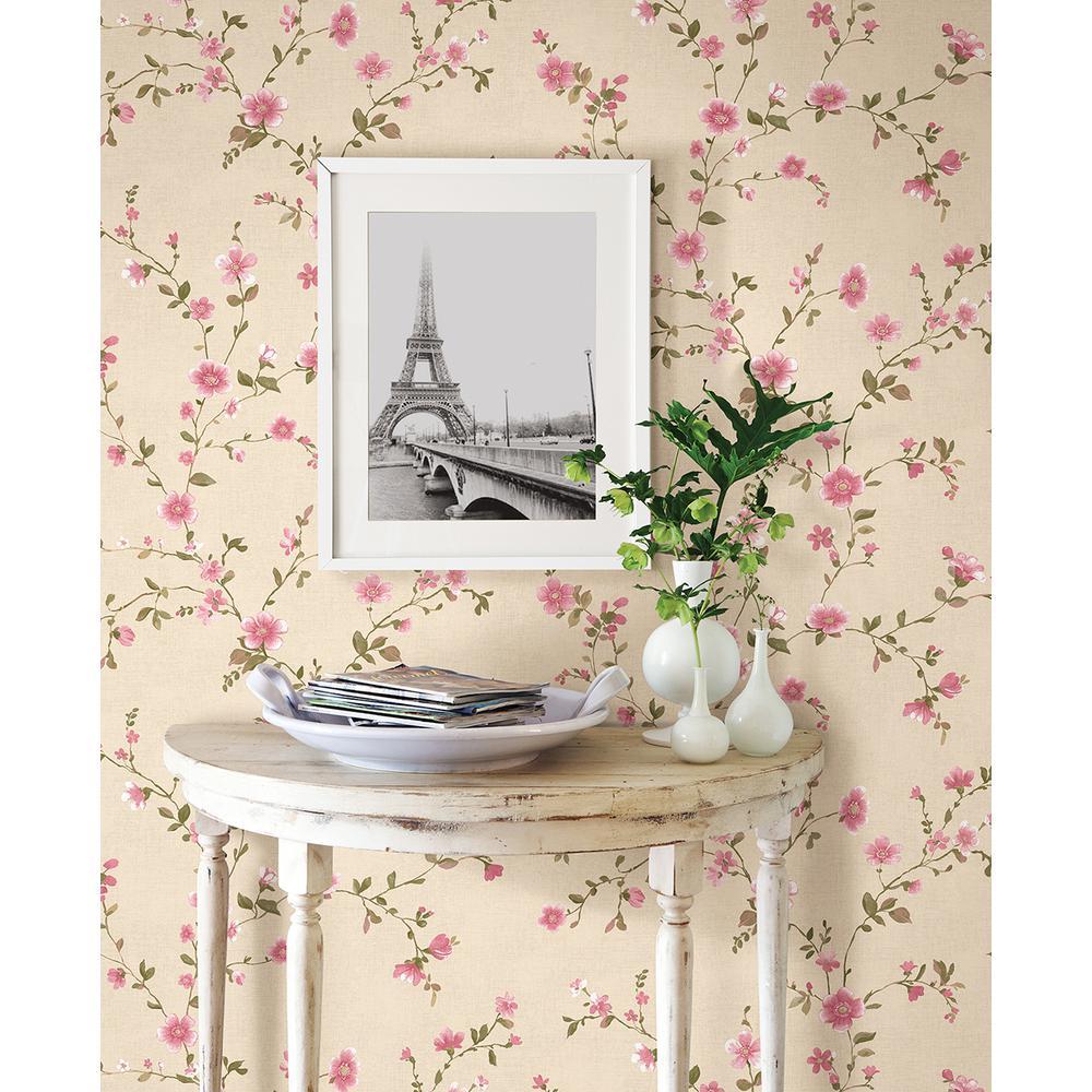 Delphine Pink Floral Trail Wallpaper Sample