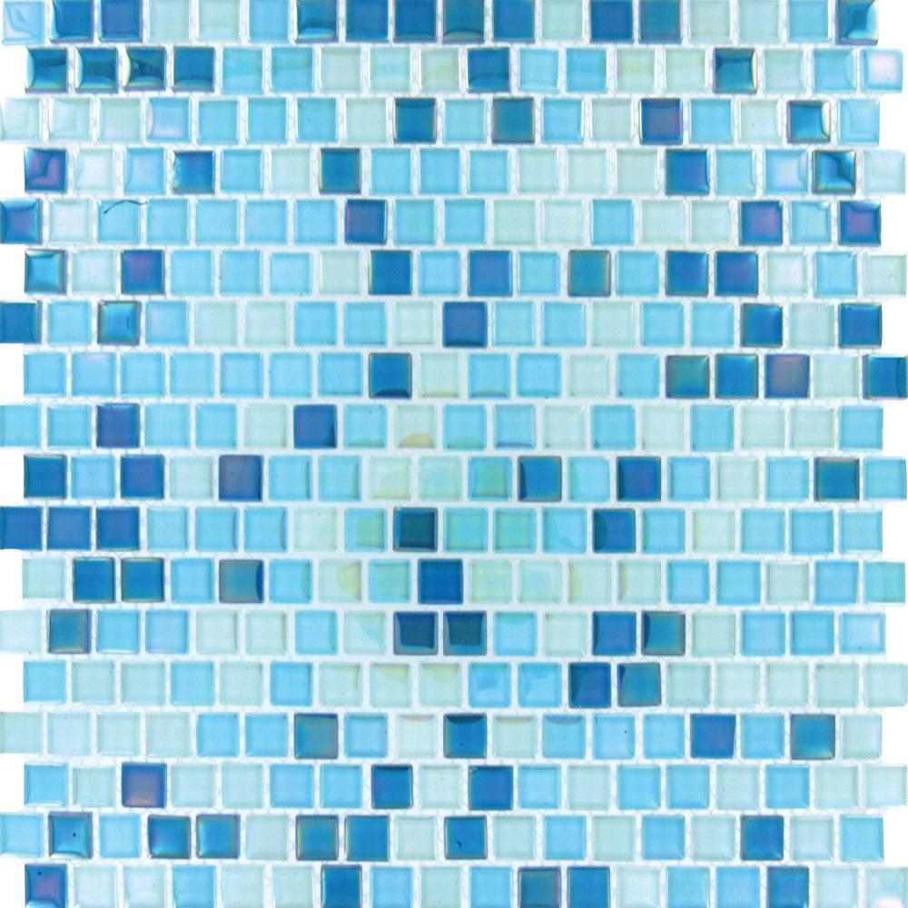 MS International Sky Blue 12 in. x 12 in. x 4 mm Glass Mesh-Mounted Mosaic Wall Tile (20 sq. ft. / case)